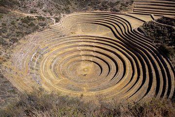 Inca circulaire terrassen bij Moray (oud landbouw experiment station) - Peru, Zuid-Amerika van Tjeerd Kruse
