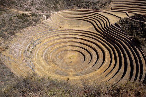 Inca circulaire terrassen bij Moray (oud landbouw experiment station) - Peru, Zuid-Amerika