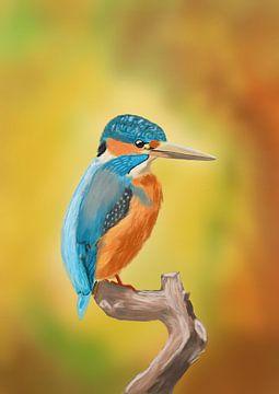 Ijsvogel in herfstkleuren van Hans van Gurp