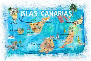 Canarische Eilanden Spanje Geïllustreerde kaart met bezienswaardigheden en hoogtepunten van Markus Bleichner