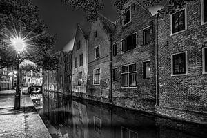 Alkmaar oude stad in zwart/wit van
