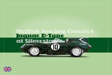 Jaguar D-Type in Silverstone, Engeland van Theodor Decker