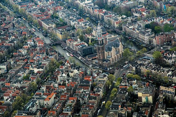 Westerkerk van Amsterdam vanuit de lucht