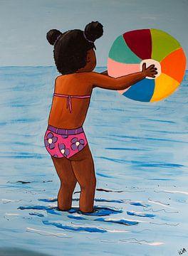 Meisje spelend in de zee von Ilia Berends