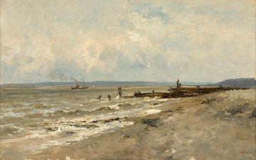 Carlos de Haes-Zeezijde gebroken pier landschap, Antiek landschap