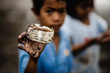 Kind mit Krabben im Fischerdorf Philippinen von Yvette Baur