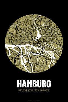 Hamburg – City Map Design Stadtplan Karte (Grunge) von