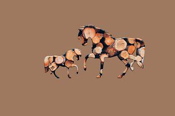 Houten paarden 3 van Catherine Fortin