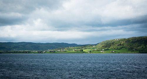 Uitzicht op een groen Noors eiland