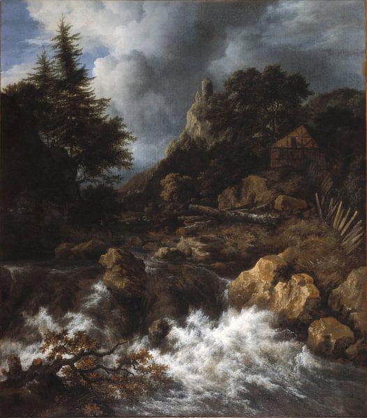 Jacob van Ruisdael - Waterval in een bergachtig noordelijk landschap van 1000 Schilderijen