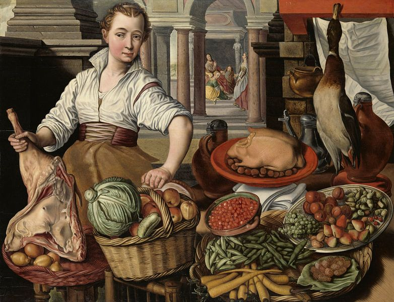 Küchenstück, mit im Hintergrund Jesus mit Martha und Maria, Joachim Bückelaer von Marieke de Koning