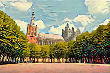 Abstract kunstwerk 's Hertogenbosch: Sint Jan in de stijl van Picasso van Slimme Kunst.nl