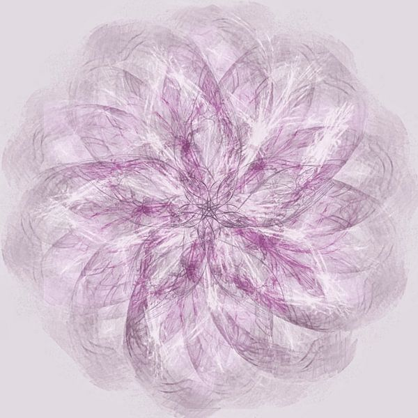 Mandala, spirograaf met roodtinten van Rietje Bulthuis