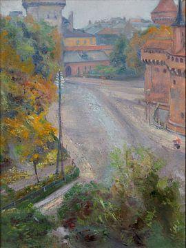 Stanisław Wyspiański-Ansicht des Barbakans und des Florian-Tors der Zacize-Straße