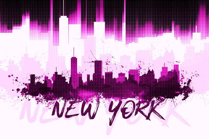 Graphic Art NYC Skyline II | pink van Melanie Viola