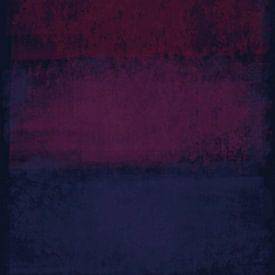 Abstract in diepe blauwe en rode tinten van Rietje Bulthuis