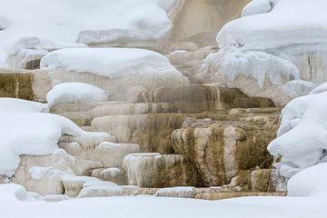 Mammoth Hot Springs in winter, UNESCO World Heritage, Yellowstone NP van