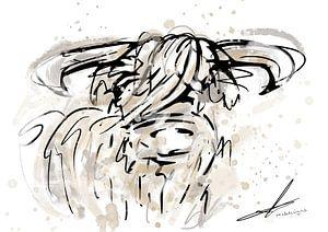 Schottischer Highlander Aquarell und Bleistiftzeichnung - modernes Kunstwerk im Aquarellstil