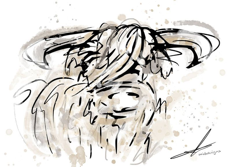 Schottischer Highlander Aquarell und Bleistiftzeichnung - modernes Kunstwerk im Aquarellstil von Emiel de Lange