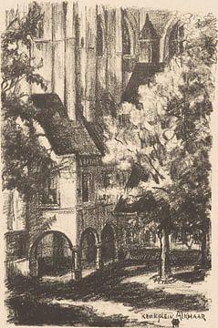 Alkmaar, Grote of Sint-Laurenskerk, Kerkplein, Otto Hanrath, 1923, Lithographie von Atelier Liesjes