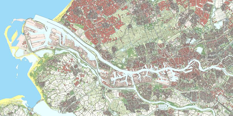 Kaart van Rotterdam van Rebel Ontwerp