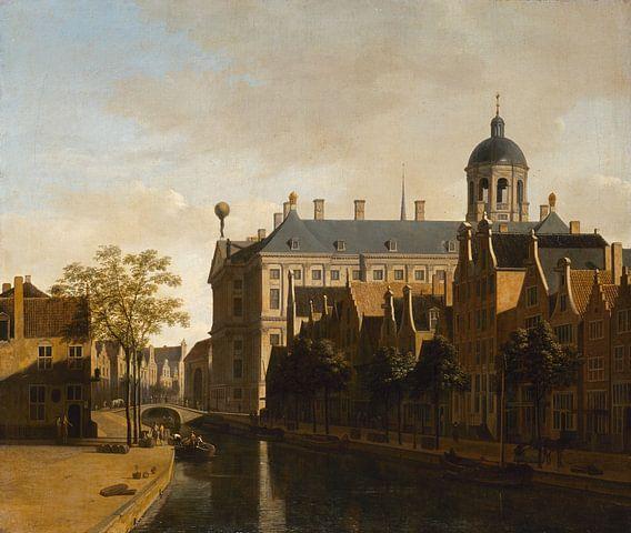 Zicht op stadhuis van Amsterdam, Gerrit Berckheyde van Meesterlijcke Meesters