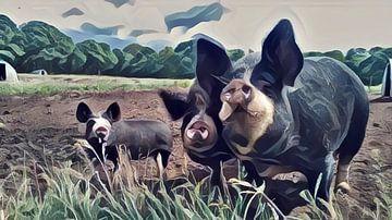 Surrealistisch schilderij van bonte varkens in een weiland van Twentse Pracht