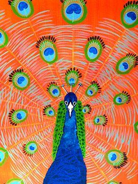 Pfau blau von Teun Poppelaars