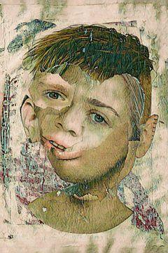 Collage portret jongen van Lida Bruinen