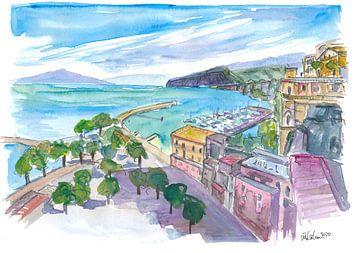 Sorrent mit Hafen und Blick auf Klippen und Vesuv von Markus Bleichner