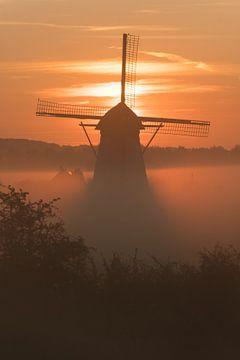 Een mistige ochtend bij De Marsch(molen) in Lienden, Betuwe van Moetwil en van Dijk - Fotografie