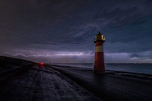 Onweer bij Westkapelle Zeeland oktober 2019 van Bas de Visser