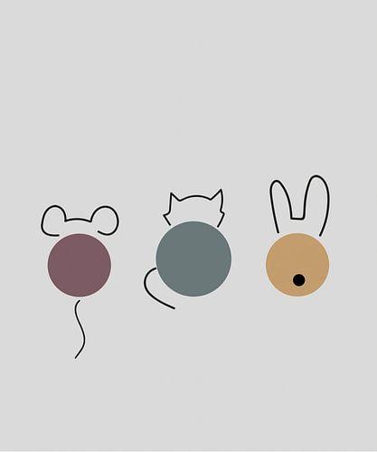 Muis, kat, konijn print