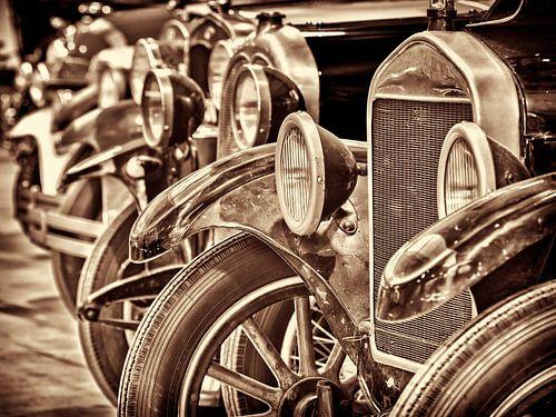 Rij  klassieke Ford T's van