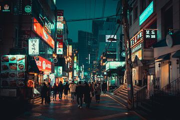 Winkelstraat in Gangnam tijdens de avond in Seoul van Mickéle Godderis
