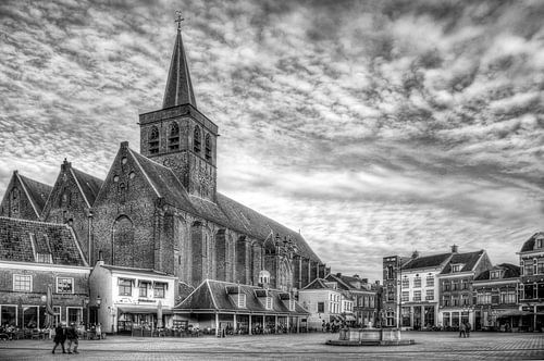 Sint Joriskerk Hof historisch Amersfoort zwartwit