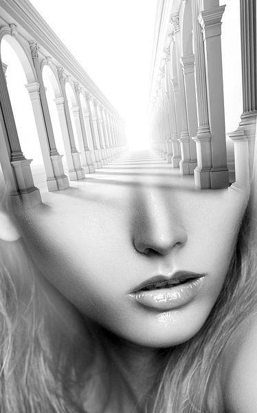 Antique girl. Double exposure portrait van Dreamy Faces