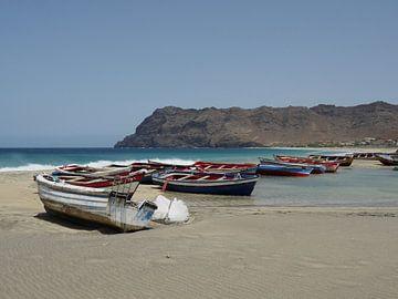 Vissers boten op het strand van