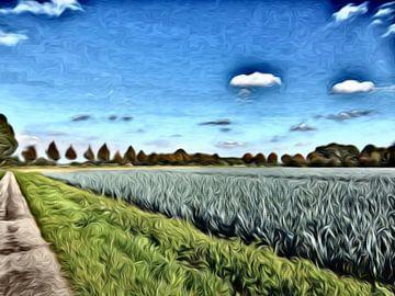 Digitale kunst , paadje langs het akkerland met prei van Joke te Grotenhuis