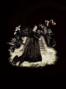 Gotische vrouw op trap met kraaien van Uta Naumann