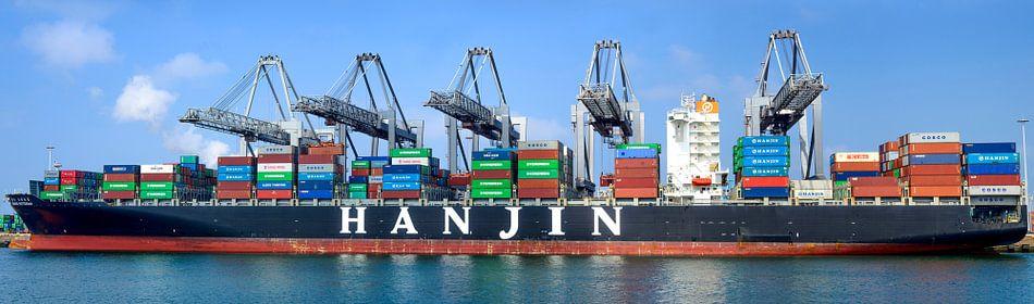 Container schip panorama van Sjoerd van der Wal