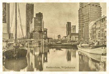 Carte postale d'époque: port du vin à Rotterdam sur Frans Blok