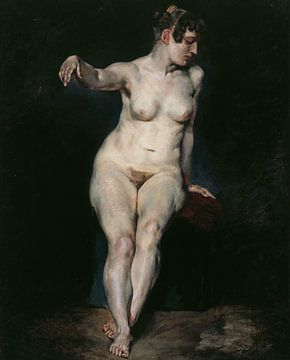 Nackt sitzend (Mademoiselle Rose), Eugène Delacroix - 1820 von Atelier Liesjes