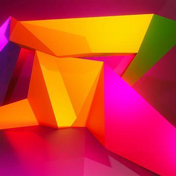 Abstract kubistisch 3d werk van twee liefhebbende kussende figuren van Pat Bloom - Moderne 3d en abstracte kubistiche kunst