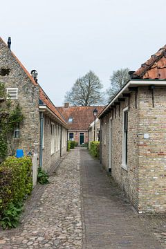Pittoresk oud Hollands straatje in vestingstad Bourtange