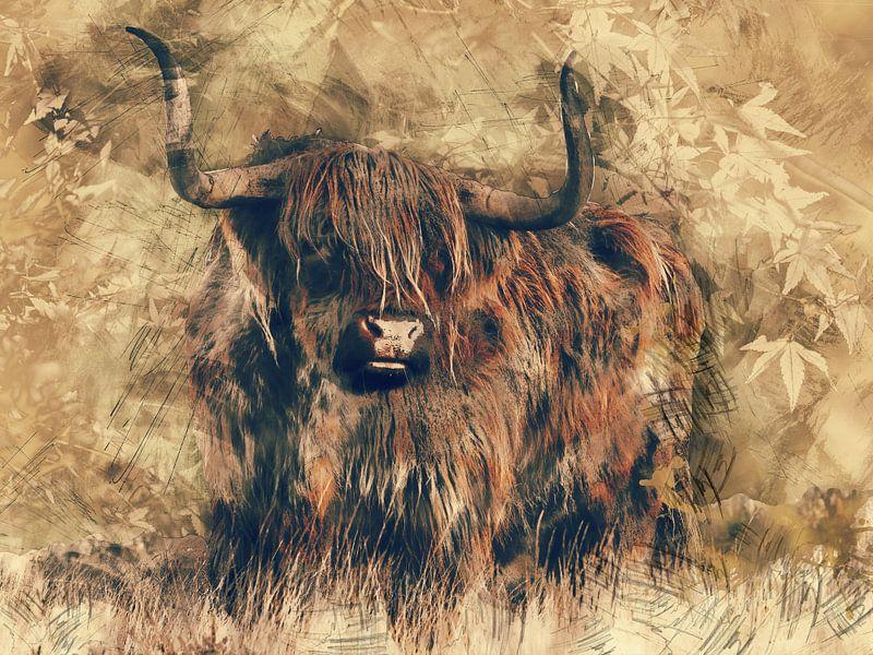 Highlander-Rindfleisch in der modernen Kunst von Atelier Liesjes
