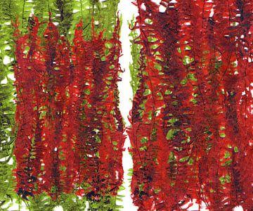 Groene en rode plant bladeren compositie van Eva van den Hamsvoort