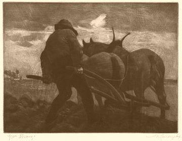 William Strang, Ploegende Man - 1891 van Atelier Liesjes