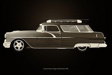 Pontiac Station Wagon Surfer Edition Schwarz und Weiß von Jan Keteleer