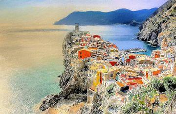 Vernazza bij Zonsondergang - Cinque Terre - Italië - Schilderij met Houtskool Etsen